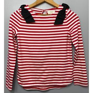 KATE SPADE Red and White Striped Long Sleeve Top